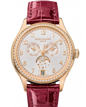 Patek Philippe Complications Ladies Annual Calendar Moon Phase Silver Arabic Dial Diamond Bezel Rose Gold Leather 38mm 4947R-001 BRAND NEW