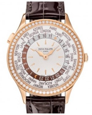 Patek Philippe Complications World Time Automatic Rose Gold Diamond 36mm Ivory Dial Alligator Leather Strap 7130R-013 - BRAND NEW