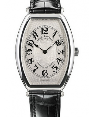 Patek Philippe Gondolo White arabic Dial Platinum Bezel Black Leather Strap 32x42mm 5098P-001 - BRAND NEW