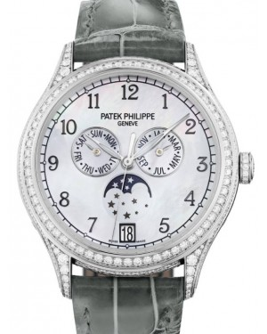 Patek Philippe Grand Complications Ladies 4948G-010 White Mother of Pearl Arabic Diamond Set White Gold Leather 38mm Automatic - BRAND NEW