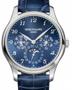 Patek Philippe 5327G-001 Grand Complications 39mm Royal Blue Sunburst Arabic White Gold Leather - Brand New
