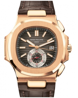 Patek Philippe Nautilus Chronograph Date Rose Gold 40.5mm Black Brown Dial Bracelet 5980R-001 - BRAND NEW