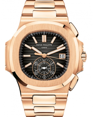 Patek Philippe Nautilus Chronograph Date Rose Gold 40.5 mm Black Dial Bracelet 5980/1R-001 - BRAND NEW