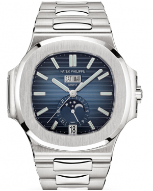 Patek Philippe Nautilus Annual Calendar Moon Phases Stainless Steel 40.5 mm Blue Dial Bracelet 5726/1A-014 - PRE-OWNED