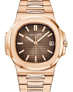 Patek Philippe Nautilus Date Sweep Seconds Rose Gold 40mm  Brown Dial Bracelet 5711/1R-001 - PRE-OWNED