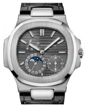 Patek Philippe Nautilus Date Moon Phase White Gold 40mm Slate Gray Dial Leather Strap 5712G-001 - PRE-OWNED