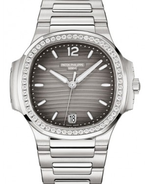 Patek Philippe Nautilus Ladies Grey Opaline Index Diamond Bezel Stainless Steel 35.2mm 7118/1200A-011 - BRAND NEW