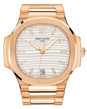 Patek Philippe Nautilus Ladies Silver Opaline Index Rose Gold 35.2mm 7118/1R-001 - BRAND NEW