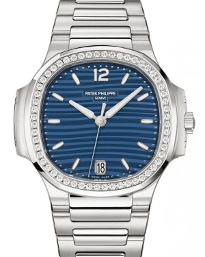 Patek Philippe Nautilus Ladies Blue Opaline Index Diamond Bezel Stainless Steel 35.2mm 7118/1200A-001- BRAND NEW