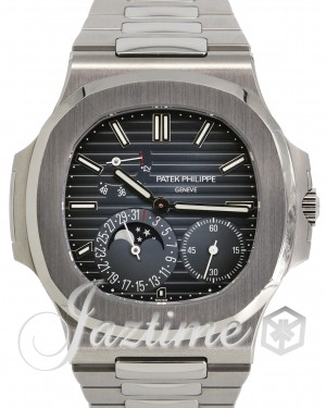 Patek Philippe Nautilus Date Moon Phase Stainless Steel 40mm Black Blue Dial Bracelet 5712/1A-001 - PRE-OWNED