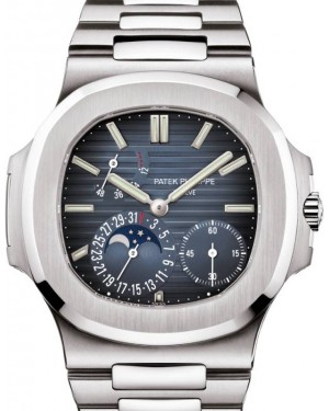 Patek Philippe Nautilus Date Moon Phase Stainless Steel 40mm Black Blue Dial Bracelet 5712/1A-001 - BRAND NEW