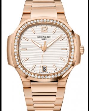 Patek Philippe Nautilus Silver Opaline 35mm Dial Diamond Bezel Rose Gold Bracelet Automatic 7118/1200R-001