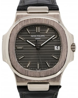 Patek Philippe Nautilus White Gold Grey 40mm Dial Leather Bracelet 5711G - PRE-OWNED