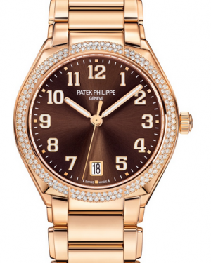 Patek Philippe Twenty~4 Ladies Brown Sunburst Arabic Dial Diamond Bezel Rose Gold Bracelet 36mm 7300/1200R-001 - BRAND NEW