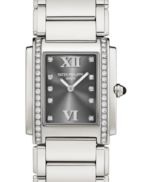 Patek Philippe Twenty~4 Ladies Grey Roman Diamond Set Dial Stainless Steel Quartz 25 x 30mm 4910/10A-010 - BRAND NEW