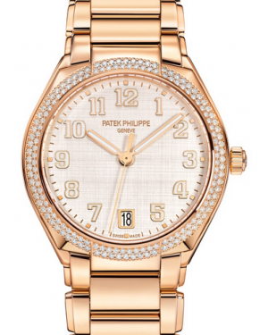Patek Philippe Twenty~4 Ladies Silver Sunburst Arabic Dial Diamond Bezel Rose Gold Bracelet 36mm 7300/1200R-010 - BRAND NEW