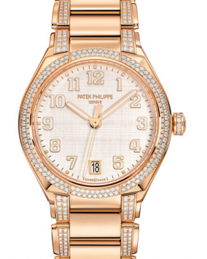 Patek Philippe Twenty~4 Ladies Silver Sunburst Arabic Dial Diamond Bezel Rose Gold Bracelet 36mm 7300/1201R-001 - BRAND NEW