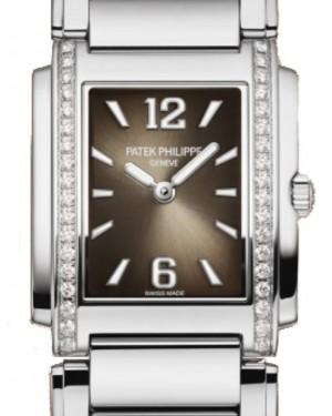 Patek Philippe Twenty~4 Ladies Stainless Steel Diamond Bezel Grey Dial Steel Bracelet 25mm 4910/1200A-010 Quartz - BRAND NEW