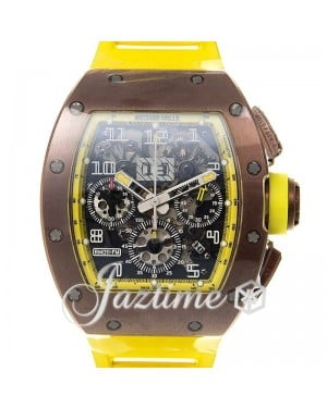 "Richard Mille Flyback Chronograph ""Felipe Massa"" Carbon Skeleton Dial Yellow Accents Rubber Strap RM011"