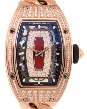Richard Mille Lady Rose Gold Medium Set Diamond Skeleton Jasper Dial Bracelet RM07-01
