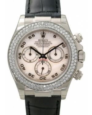 Rolex Daytona 116589-MOPA White Mother Of Pearl Arabic Diamond Bezel Black Leather BRAND NEW