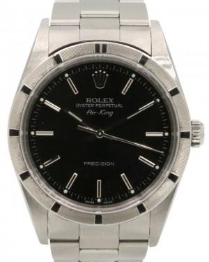 Rolex Air-King Stainless Steel Black Index Dial & Engine-Turned Bezel Oyster Bracelet 14010 - PRE-OWNED