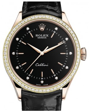 Rolex Cellini Time Rose Gold Black Diamond Dial Diamond Bezel Black Leather Bracelet 50705RBR - BRAND NEW