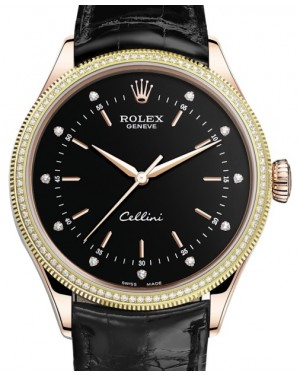 Rolex Cellini Time Rose Gold Black Diamond Dial Diamond & Fluted Double Bezel Black Leather Bracelet 50605RBR - BRAND NEW
