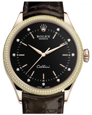 Rolex Cellini Time Rose Gold Black Diamond Dial Diamond & Fluted Double Bezel Tobacco Leather Bracelet 50605RBR - BRAND NEW