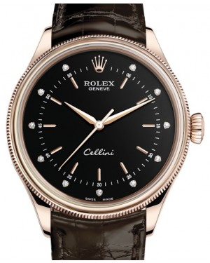 Rolex Cellini Time Rose Gold Black Diamond Dial Domed & Fluted Double Bezel Tobacco Leather Bracelet 50505 - BRAND NEW