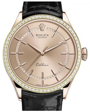 Rolex Cellini Time Rose Gold Pink Index Dial Diamond Bezel Black Leather Bracelet 50705RBR - BRAND NEW