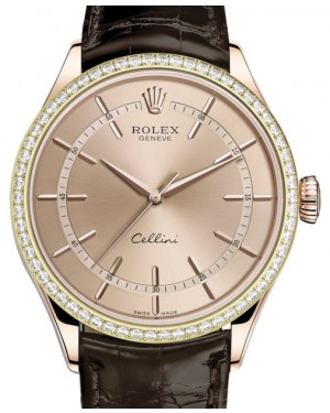 Rolex Cellini Time Rose Gold Pink Index Dial Diamond Bezel Tobacco Leather Bracelet 50705RBR - BRAND NEW