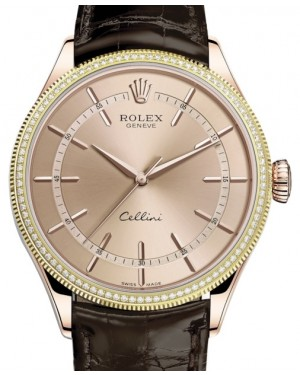 Rolex Cellini Time Rose Gold Pink Index Dial Diamond & Fluted Double Bezel Tobacco Leather Bracelet 50605RBR - BRAND NEW