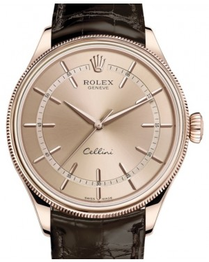 Rolex Cellini Time Rose Gold Pink Index Dial Domed & Fluted Double Bezel Tobacco Leather Bracelet 50505 - BRAND NEW