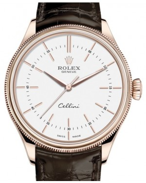 Rolex Cellini Time Rose Gold White Index Dial Domed & Fluted Double Bezel Tobacco Leather Bracelet 50505 - BRAND NEW