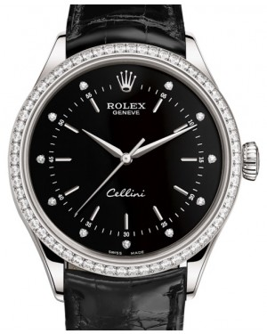 Rolex Cellini Time White Gold Black Diamond Dial Diamond Bezel Black Leather Bracelet 50709RBR - BRAND NEW
