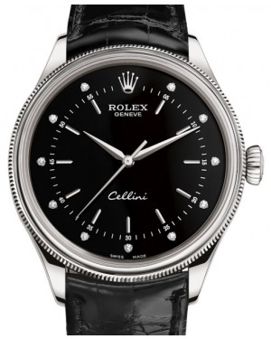 Rolex Cellini Time White Gold Black Diamond Dial Domed & Fluted Double Bezel Black Leather Bracelet 50509 - BRAND NEW