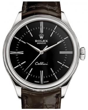 Rolex Cellini Time White Gold Black Index / Roman Dial Domed & Fluted Double Bezel Tobacco Leather Bracelet 50509 - BRAND NEW