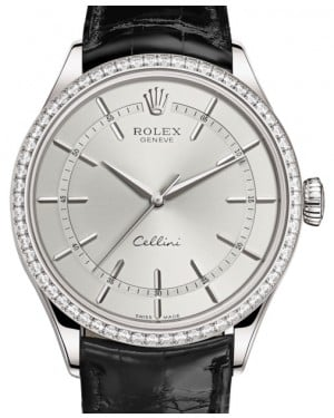 Rolex Cellini Time White Gold Rhodium Index Dial Diamond Bezel Black Leather Bracelet 50709RBR - BRAND NEW