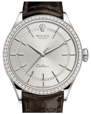 Rolex Cellini Time White Gold Rhodium Index Dial Diamond Bezel Tobacco Leather Bracelet 50709RBR - BRAND NEW