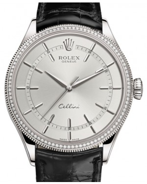 Rolex Cellini Time White Gold Rhodium Index Dial Diamond & Fluted Double Bezel Black Leather Bracelet 50609RBR - BRAND NEW