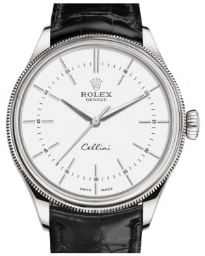Rolex Cellini Time White Gold White Index Dial Domed & Fluted Double Bezel Black Leather Bracelet 50509 - BRAND NEW