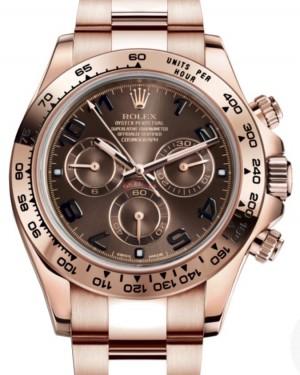 Rolex Daytona Rose Gold Chocolate Arabic 40mm Dial Gold Bracelet 116505 - BRAND NEW