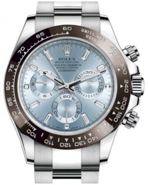 Rolex Daytona Platinum Ice Blue Index 8 Baguette Diamond Dial Chestnut Brown Ceramic Bezel Oyster Bracelet 116506 - BRAND NEW
