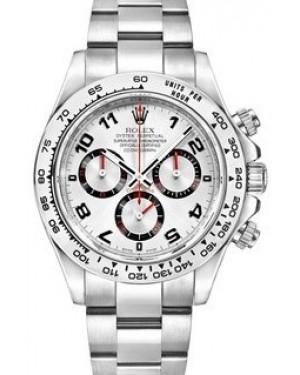 Rolex Daytona 116509-WHT White Arabic Black Subdials 18k White Gold