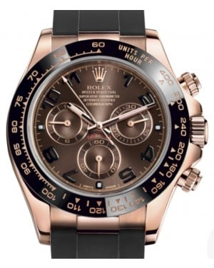 Rolex Daytona Rose Gold Chocolate Arabic Dial & Ceramic Bezel Oysterflex Rubber Bracelet 116515LN - BRAND NEW