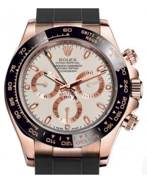 Rolex Daytona Rose Gold Ivory Index Dial Ceramic Bezel Oysterflex Rubber Bracelet 116515LN - BRAND NEW