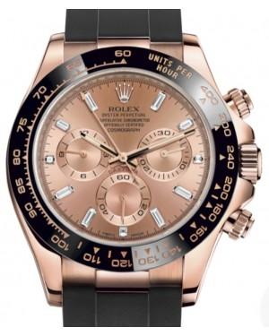 Rolex Daytona Rose Gold Pink Diamond Dial & Ceramic Bezel Oysterflex Rubber Bracelet 116515LN - BRAND NEW