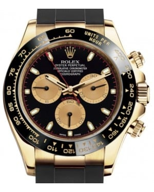 Rolex Daytona Yellow Gold Black/Champagne Index Dial Ceramic Bezel Oysterflex Rubber Bracelet 116518LN - BRAND NEW