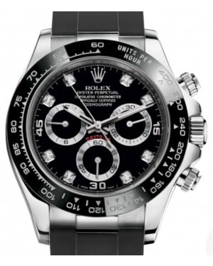 Rolex Daytona White Gold Black Diamond Dial Ceramic Bezel Oysterflex Rubber Bracelet 116519LN - BRAND NEW